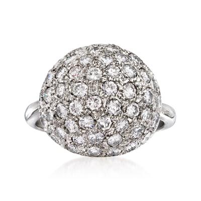 C. 1980 Vintage 2.25 ct. t.w. Diamond Ball Ring in Platinum