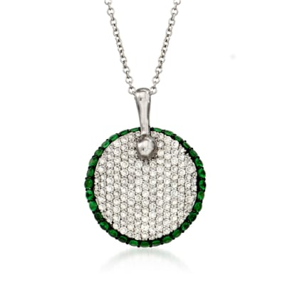 .65 ct. t.w. Diamond and .48 ct. t.w. Tsavorite Circle Pendant Necklace in 18kt White Gold