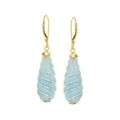Carved Aquamarine Teardrop Earrings in 14kt Yellow Gold