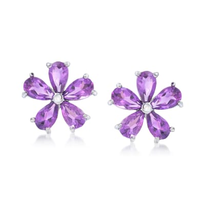 2.00 ct. t.w. Amethyst Flower Earrings in Sterling Silver