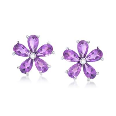 2.00 ct. t.w. Amethyst Flower Earrings in Sterling Silver