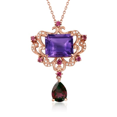 6.20 ct. t.w. Multi-Gemstone Necklace with Diamond Accents in 14kt Rose Gold