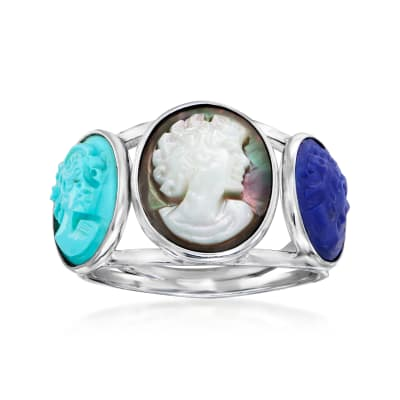 Multi-Gemstone Cameo Ring in Sterling Silver