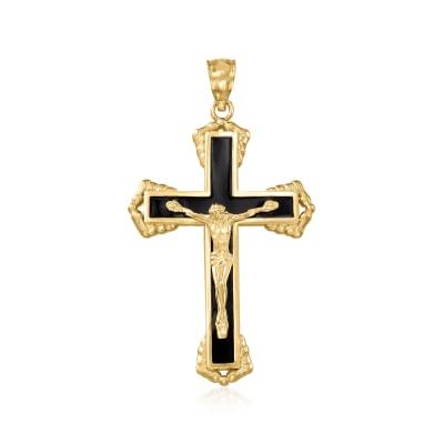 14kt Yellow Gold and Black Enamel Crucifix Pendant
