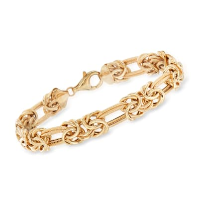 14kt Yellow Gold Byzantine and Double-Link Bracelet