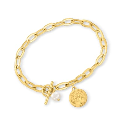 18kt Gold Over Sterling Tree of Life Coin Bracelet with 6mm Cultured Pearl