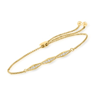 .34 ct. t.w. Diamond Bolo Bracelet in 18kt Gold Over Sterling