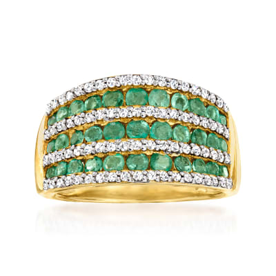 1.20 ct. t.w. Emerald and .70 ct. t.w. White Zircon Multi-Row Ring in 18kt Gold Over Sterling
