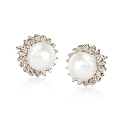 7mm Cultured Pearl and .25 ct. t.w. Diamond Earrings in 14kt White Gold