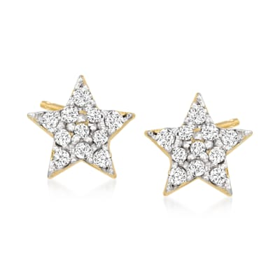 Diamond-Accented Star Stud Earrings in 14kt Yellow Gold