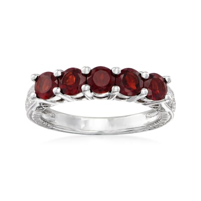 1.50 ct. t.w. Garnet Five-Stone Ring in Sterling Silver