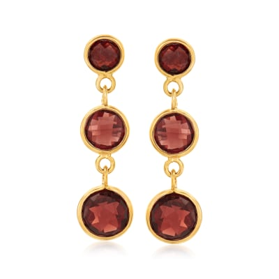 4.00 ct. t.w. Bezel-Set Ruby Drop Earrings in 18kt Gold Over Sterling