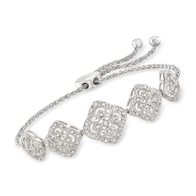 .35 ct. t.w. Diamond Filigree Station Bolo Bracelet in Sterling Silver