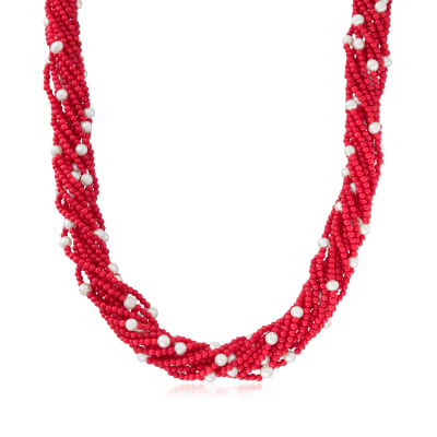 Red Coral and Cultured Pearl Torsade Necklace with Sterling Silver