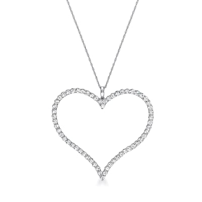 3.60 ct. t.w. Diamond Heart Pendant Necklace in 14kt White Gold