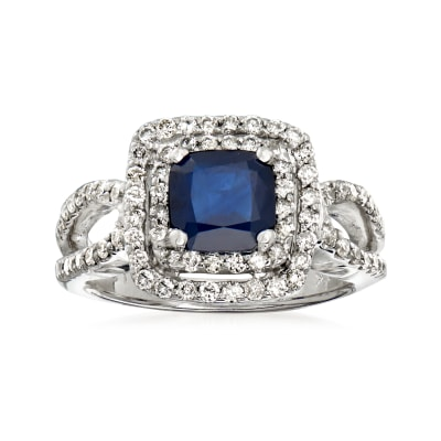 1.50 Carat Sapphire and .75 ct. t.w. Diamond Double-Halo Ring in 14kt White Gold