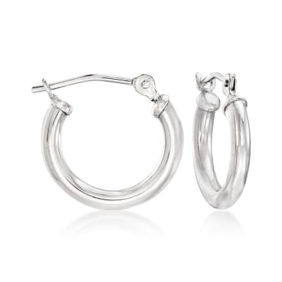 1.5mm 14kt White Gold Small Hoop Earrings