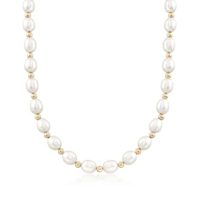 8-9mm Cultured Oval Pearl Necklace with 14kt Yellow Gold