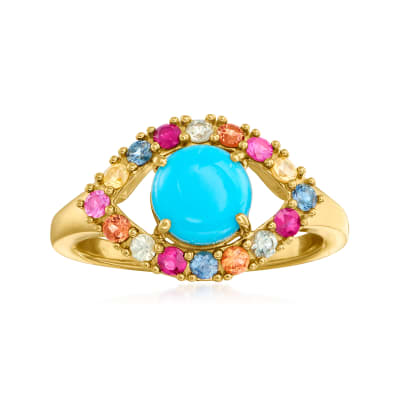 Turquoise, .70 ct. t.w. Multicolored Sapphire and .10 ct. t.w. Ruby Evil Eye Ring in 18kt Gold Over Sterling