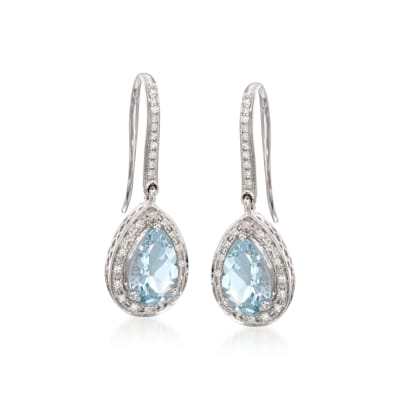 2.15 ct. t.w. Aquamarine and .15 ct. t.w. Diamond Earrings in 14kt White Gold