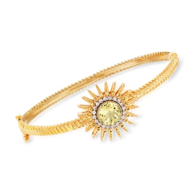 2.50 Carat Lemon Quartz and .50 ct. t.w. Citrine with .26 ct. t.w. Diamond Sun Bracelet in 18kt Gold Over Sterling