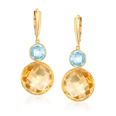 20.00 ct. t.w. Citrine and 4.00 ct. t.w. Sky Blue Topaz Drop Earrings in 14kt Yellow Gold