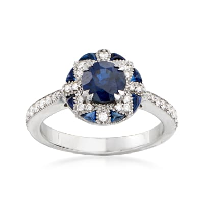 2.93 ct. t.w. Sapphire and .28 ct. t.w. Diamond Ring in 14kt White Gold