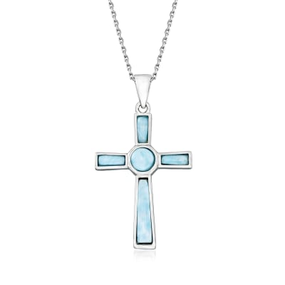 Larimar Cross Pendant Necklace in Sterling Silver