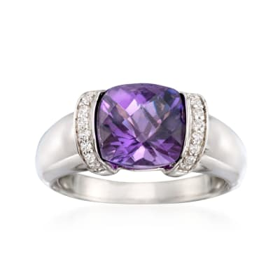 2.80 Carat Amethyst and .10 ct. t.w. CZ Ring in Sterling Silver