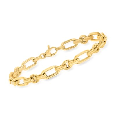 Italian 14kt Yellow Gold Oval and Rectangular Link Bracelet