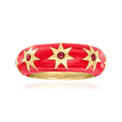 .20 ct. t.w. Ruby and Red Enamel Star Ring in 18kt Gold Over Sterling