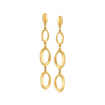 Italian 14kt Yellow Gold Oval-Shape Drop Earrings