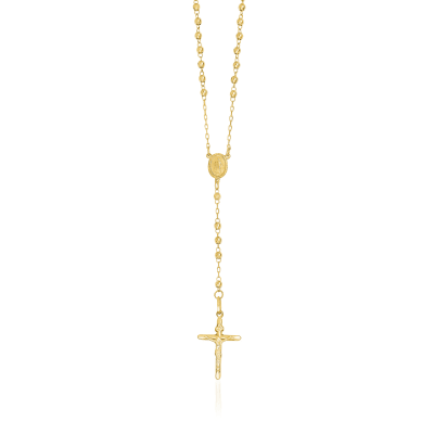 14kt Yellow Gold 3mm Beaded Rosary Necklace
