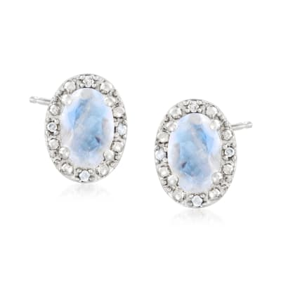 Moonstone Stud Earrings with Diamond Accents in Sterling Silver