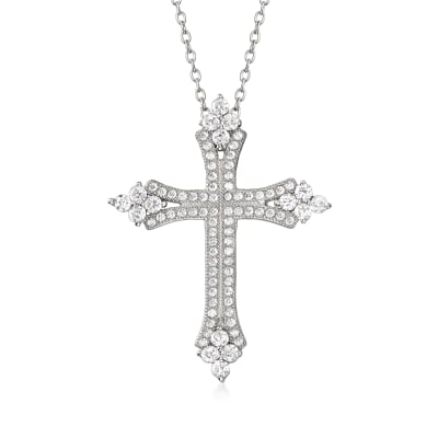 .80 ct. t.w. CZ Cross Pendant Necklace in Sterling Silver