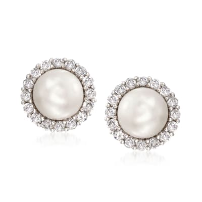 7.5mm Cultured Pearl and 1.10 ct. t.w. CZ Jewelry Set: Earrings and Earring Jackets in Sterling Silver