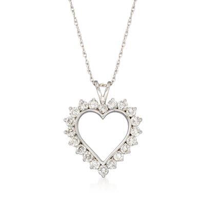 1.00 ct. t.w. Diamond Open-Space Heart Pendant Necklace in Sterling Silver