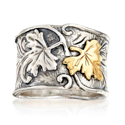 Sterling Silver and 14kt Yellow Gold Leaf Ring