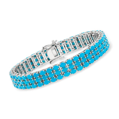 Turquoise Three-Row Tennis Bracelet in Sterling Silver