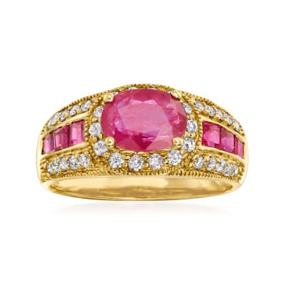 1.90 ct. t.w. Ruby and .40 ct. t.w. Diamond Ring in 14kt Yellow Gold