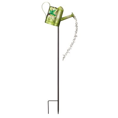 Regal Watering can Hummingbird Solar Garden Stake