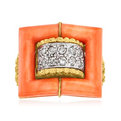C. 1960 Vintage Coral Frame Ring with .50 ct. t.w. Diamonds in 18kt Yellow Gold