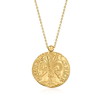 Italian 14kt Yellow Gold St. John and Fleur-De-Lis Reversible Pendant Necklace