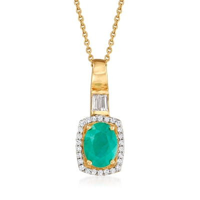.80 Carat Emerald and .20 ct. t.w. Diamond Pendant Necklace in 14kt Yellow Gold