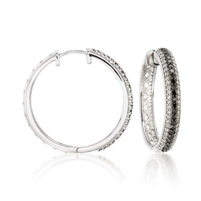 .99 ct. t.w. Black and White Diamond Hoop Earrings in 14kt White Gold