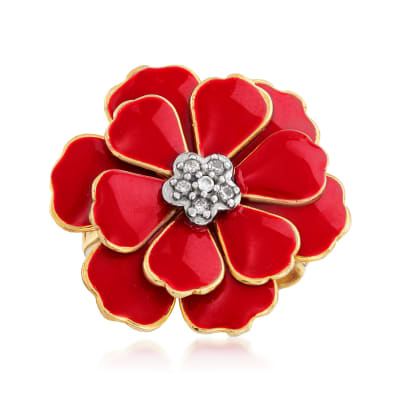 Italian Red Enamel Flower Ring in 18kt Gold Over Sterling