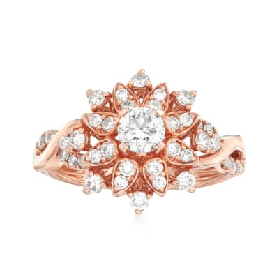 C. 2000 Vintage 1.00 ct. t.w. Diamond Flower Ring in 14kt Rose Gold