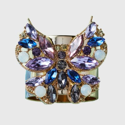 Joanna Buchanan Set of 2 Blue Jeweled Butterfly Napkin Rings