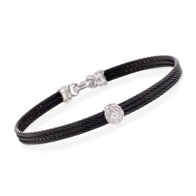 """ALOR """"Classique"""" Diamond Station Black Cable Bracelet with 18kt White Gold"""