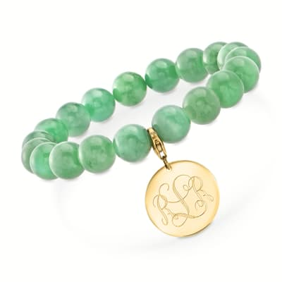 Jade Bead Stretch Bracelet with 14kt Yellow Gold Personalized Disc Charm